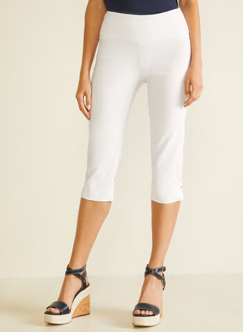 Slit Detail Pull-On Capris, White,  capris, pull-on, slim leg, bengaline, slits, spring summer 2020