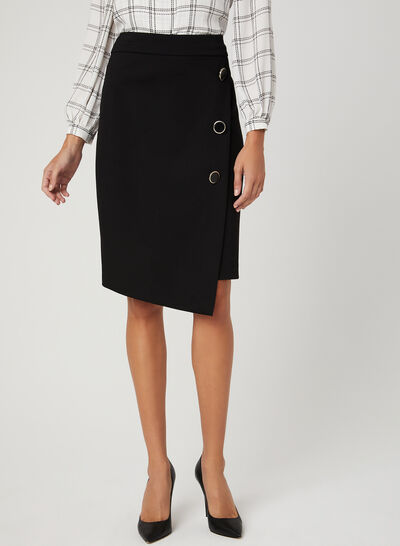 Asymmetrical Button Detail Skirt
