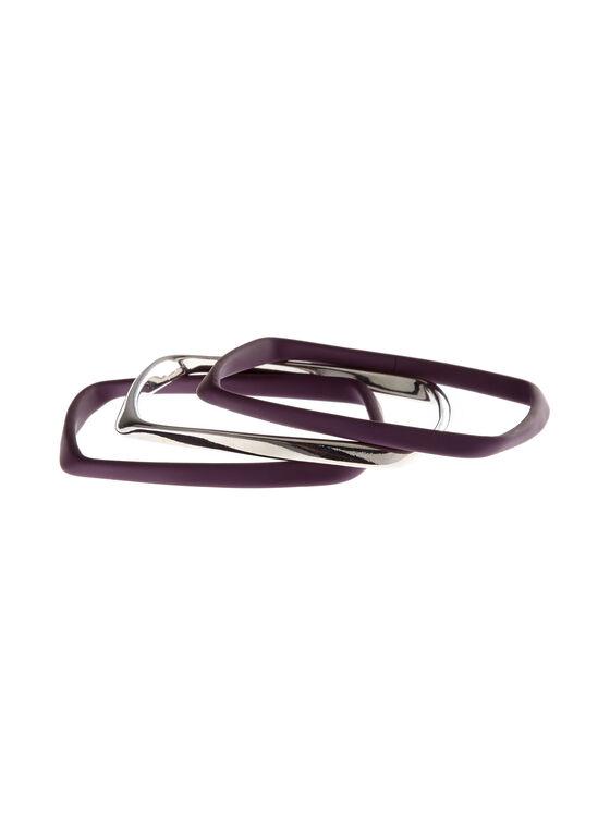 Ensemble 3 bracelets carrés arrondis, Violet, hi-res