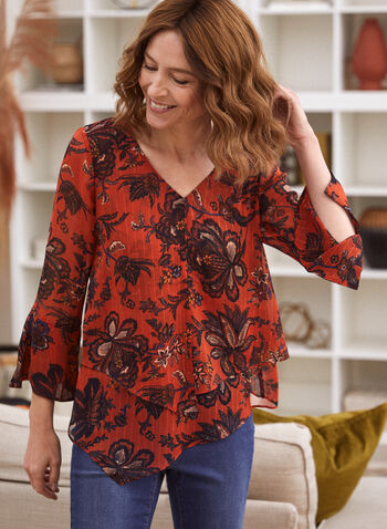 Asymmetric Floral Blouse , Orange,  blouse, floral, 3/4 sleeves, v-neck, asymmetrical, fall winter 2020, gift, holiday, holiday 2020
