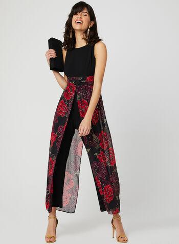 Floral Print Jumpsuit, Black, hi-res