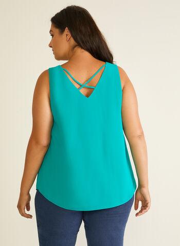 Sleeveless V-Neck Blouse, Green,  top, blouse, sleeveless, v-neck, lined, crisscross, spring summer 2020