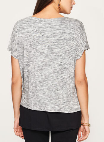 Heather Print Layered Jersey Top, Grey, hi-res