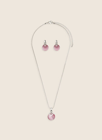 Matching Pendant Necklace & Earrings, Pink,  necklace, earrings, cat's eye, pendant, matching, spring summer 2020