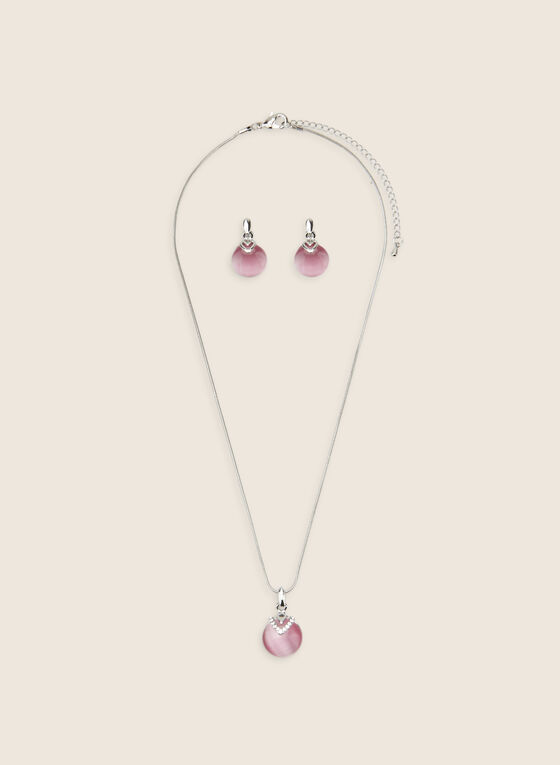 Matching Pendant Necklace & Earrings, Pink