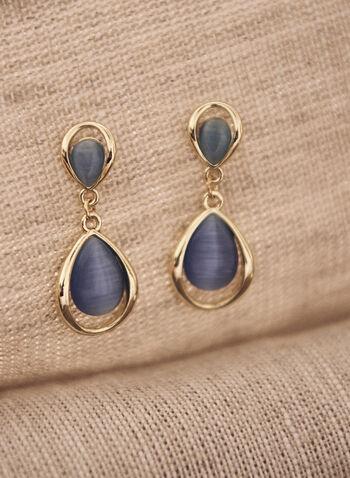 Boucles d'oreilles étagées à pierres, Bleu,  accessoire, bijou, boucles d'oreilles, étages, pierre, oeil de chat, doré, tige, printemps été 2021