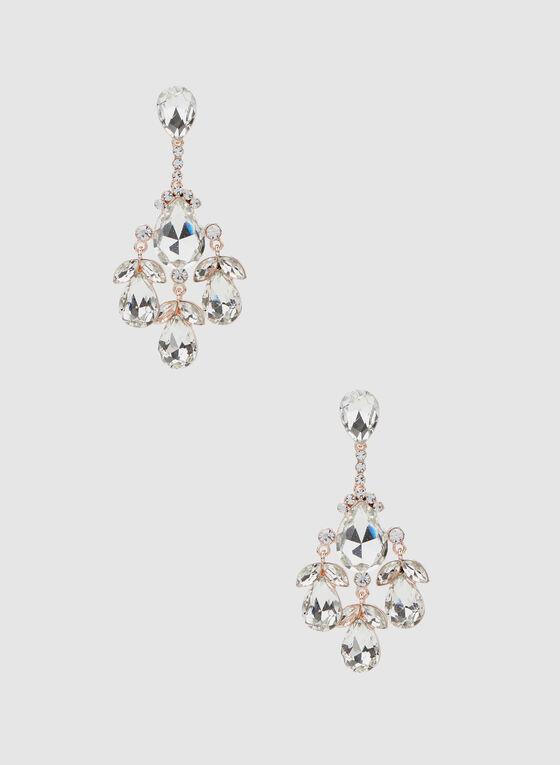 Crystal Cluster Dangle Earrings, Pink, hi-res