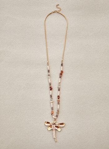 Collier à pendentif libellule, Or,  printemps été 2021, accessoires, bijoux, collier, pendentif, libellule, perles, métal; chaîne serpent