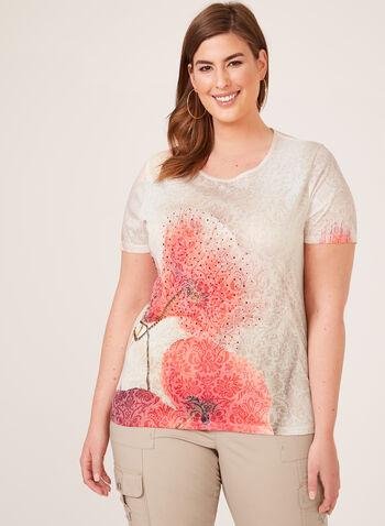 T-shirt fleuri à manches courtes et strass, Rouge, hi-res