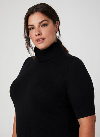 Pull à manches courtes et col roulé, Noir, hi-res,  laine, tricot, pull, automne hiver 2019