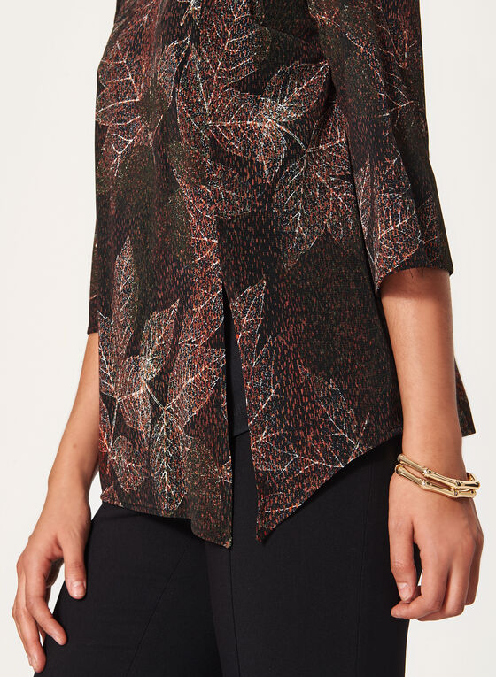 Leaf Print Mesh Top, Green, hi-res