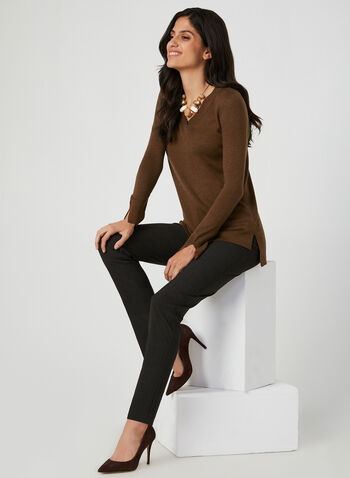 V-Neck ¾ Sleeve Sweater, Brown, hi-res,  ribbed sweater