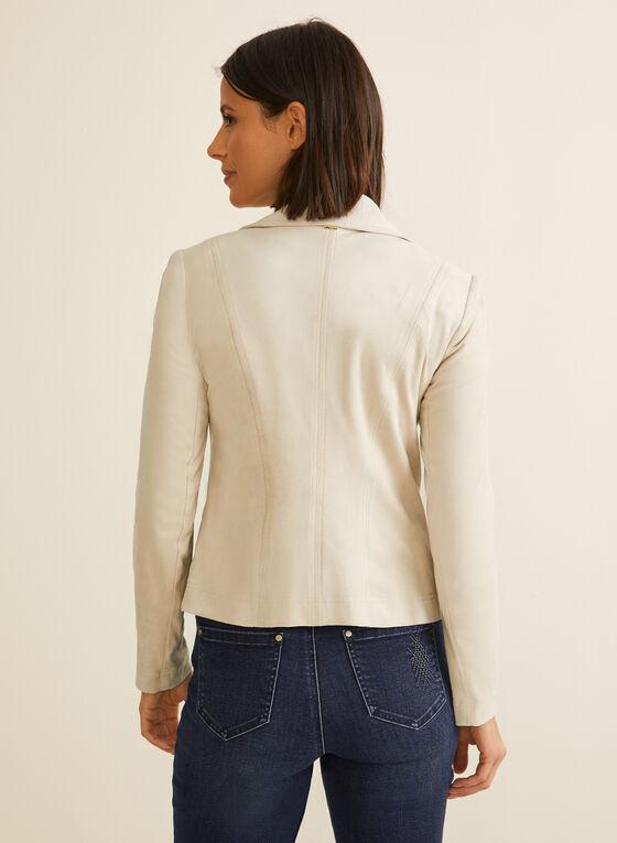 Vex - Veste en faux suède à détails zips, Blanc cassé