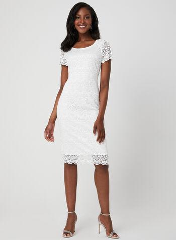 Robe en dentelle crochet, Blanc, hi-res,  robe, crochet, manches courtes, col dégagé, printemps 2019