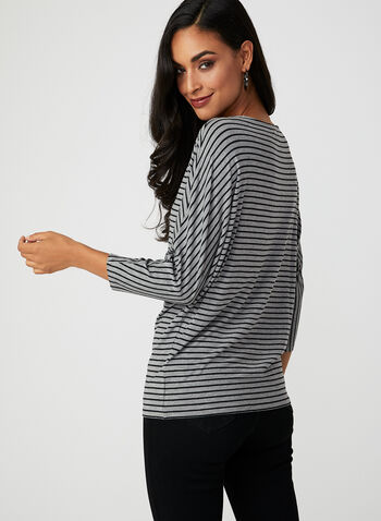 Stripe Print Dolman Sleeve T-Shirt, Grey, hi-res