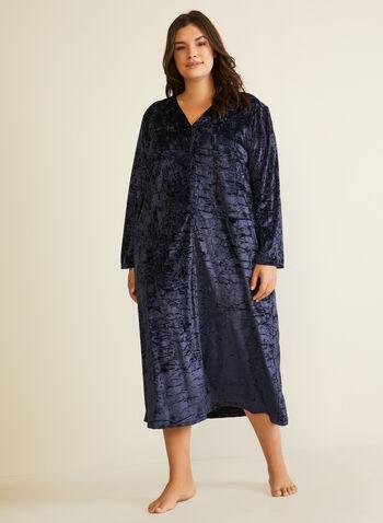 Robe de nuit en panne de velours, Noir,  automne hiver 2020, robe de nuit, pyjama, chemise de nuit