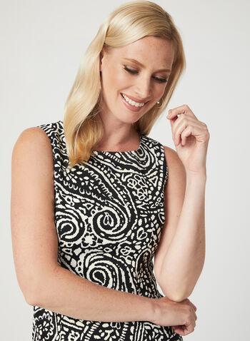 Paisley Print Sleeveless Dress, Black, hi-res