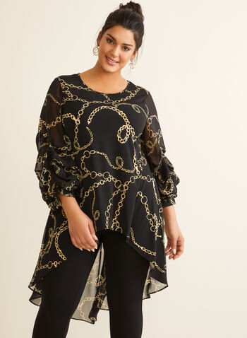 Frank Lyman - Chain Print Tunic Top, Black,  spring summer 2020, jersey, balloon sleeves, high low hem, tunic, Frank Lyman