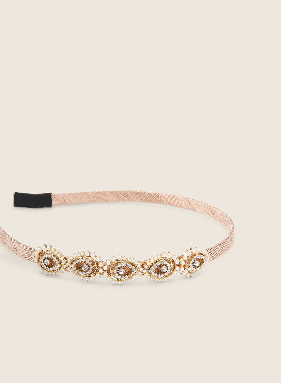 Beaded Thin Headband, Gold