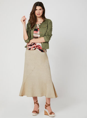 Linen-Blend Skirt, Off White, hi-res