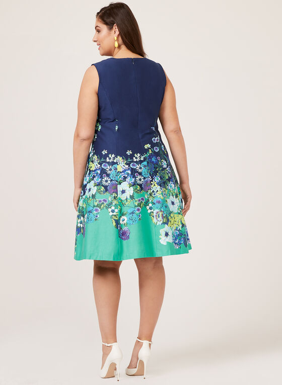 Floral Print Fit & Flare Sleeveless Dress, Blue