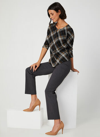 Keyhole Neck Plaid Top, Black, hi-res,  plaid sweater, plaid blouse