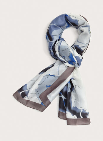 Abstract Print Lightweight Scarf, Blue, hi-res