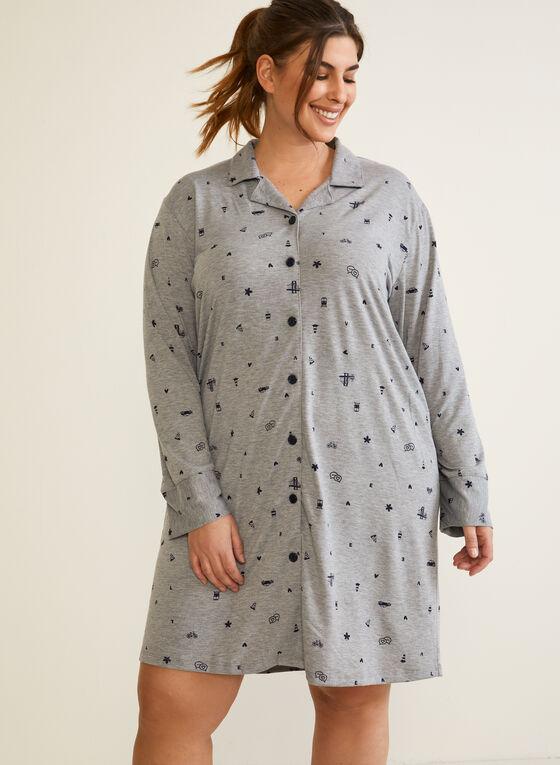 Long Sleeve Nightshirt, Grey