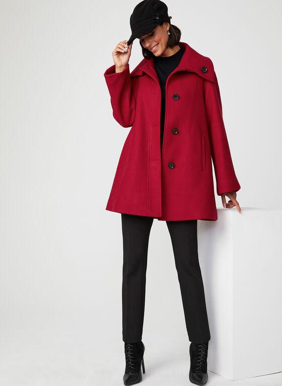 Manteau boutonné en laine mélangée, Rouge