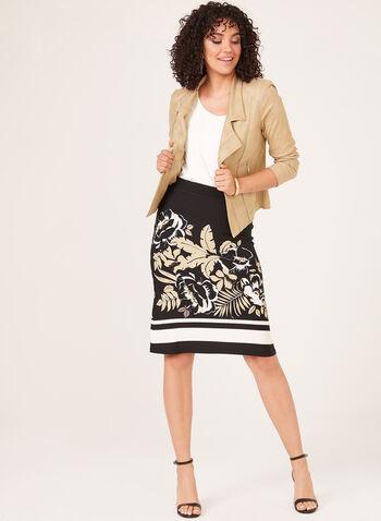 Jupe pull-on à motif floral placé, Noir, hi-res