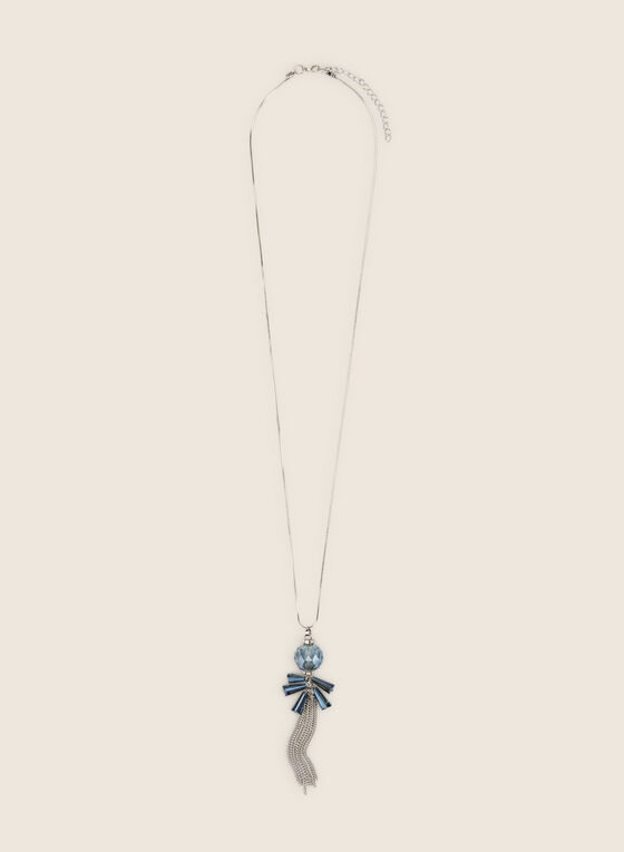 Long Chain Tassel & Sphere Necklace, Blue