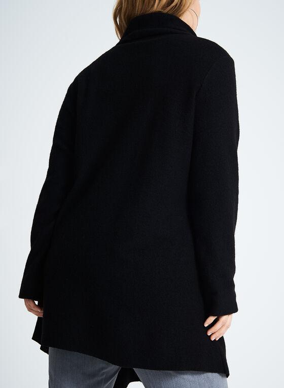 Manteau asymétrique en laine, Noir, hi-res