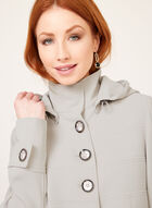 Removable Hood Water Repellent Trench Coat, Grey, hi-res
