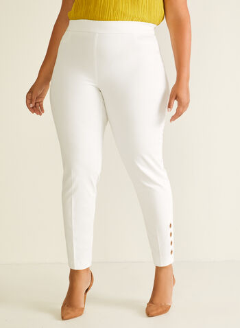 Eyelet Detail City Fit Pants, Off White,  pants, city fit, slim leg, pull-on, eyelets, spring summer 2020