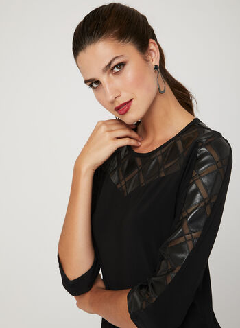 Picadilly - Mesh & Faux Leather Trim Top, Black, hi-res