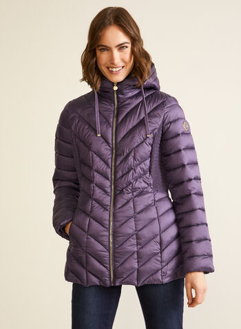 Bernardo - Packable EcoPlume™ Coat, Purple,  fall winter 2020, coats, Bernardo, chevron, quilted, synthetic, down, hood, long sleeves