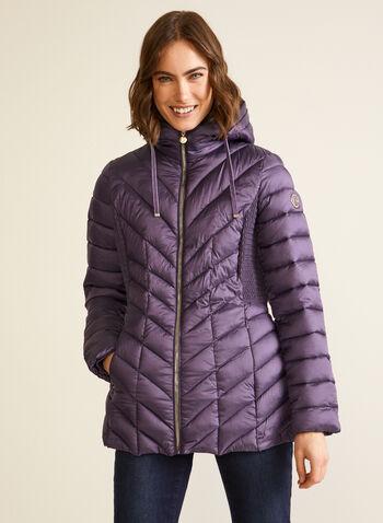 Bernardo - Manteau EcoPlume™ compressible, Violet,  automne hiver 2020, manteau, matelassé, duvet, compressible, Bernardo, col montant, capuchon, zip, poches