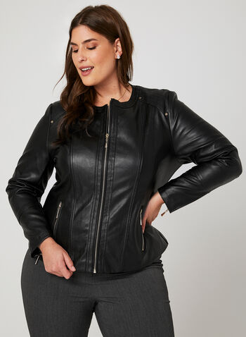 Ness - Faux Leather Jacket, Black, hi-res