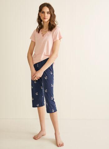 Claudel Lingerie - Pyjama à encolure lacée, Rose,  printemps été 2020, pyjama, Claudel Lingerie