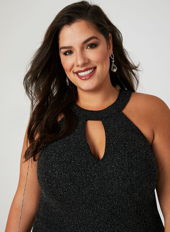Fit & Flare Glitter Dress, Black, hi-res