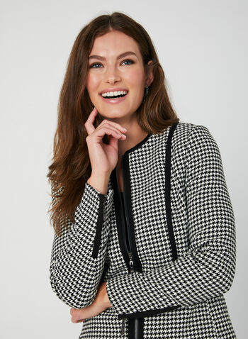 Houndstooth Print Jacket, Black, hi-res,  blazer, long sleeves, zippers, fall 2019, winter 2019