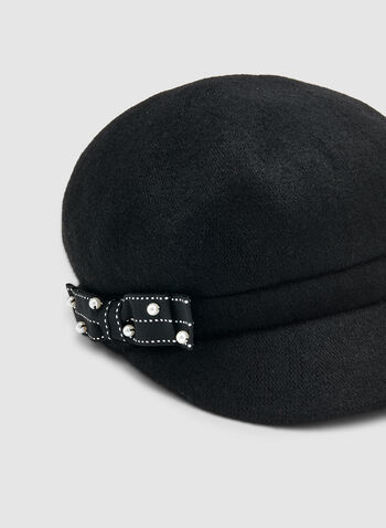 Ribbon Detail Newsboy Cap, Black,  newsboy cap, ribbon, pearls, wool blend, fall 2019, winter 2019