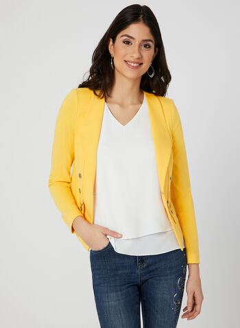 Grommet Detail Jacket, Yellow, hi-res