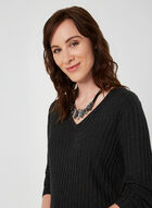 Ribbed V-Neck Sweater, Grey, hi-res