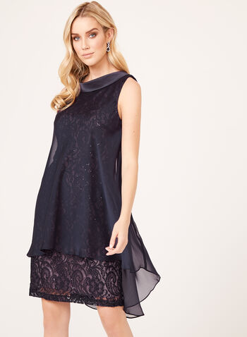 Chiffon Sequin Lace Sheath Dress, Purple, hi-res