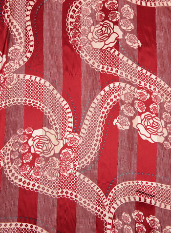 Rose & Line Print Scarf, Red, hi-res