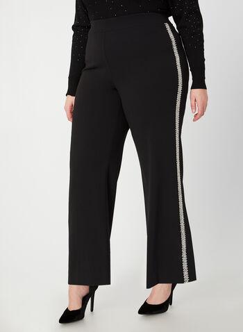 Pantalon coupe moderne à jambe large, Noir,  pantalon, pull-on, jambe large, bandes latérales, crêpe, automne hiver 2019