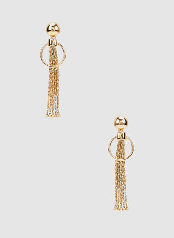 Tassel Dangle Earrings, Gold, hi-res