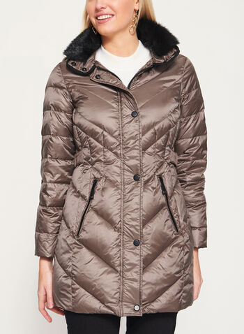 Faux Fur Trim Hooded Down Coat, Brown, hi-res