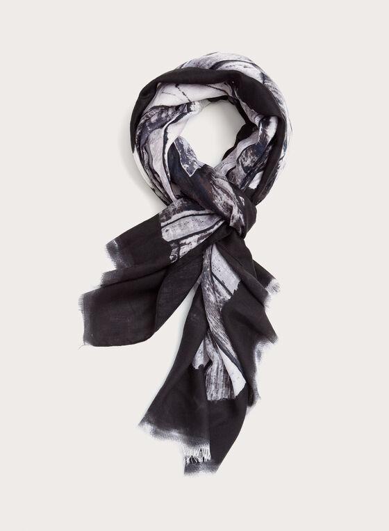 Foulard oblong à motif abstrait, Noir, hi-res